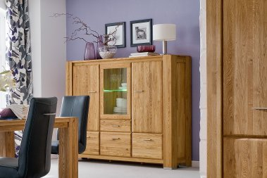 Highboard No.4 Sansa Wildeiche massiv
