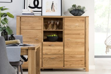 Highboard Tamme Wildeiche massiv