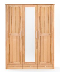Kleiderschrank No.3 HomeStyle mit Spiegeltür  und Schubkastenunterbau Kernbuche massiv