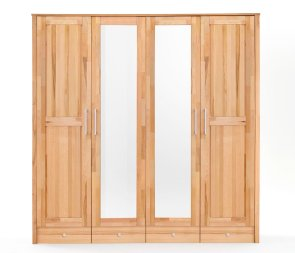 Kleiderschrank No.4 HomeStyle mit Spiegeltüren und Schubkastenunterbau Kernbuche massiv