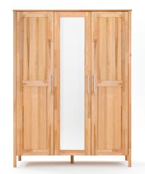 Kleiderschrank No.3 HomeStyle mit Spiegeltür Kernbuche massiv