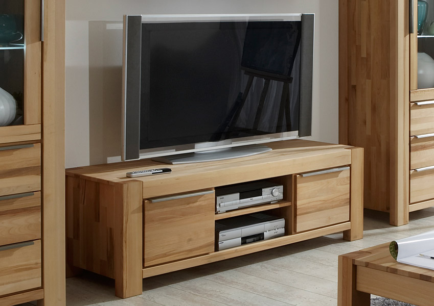 tv lowboard l kernbuche massiv lackiert mit 2 schubk sten smash. Black Bedroom Furniture Sets. Home Design Ideas